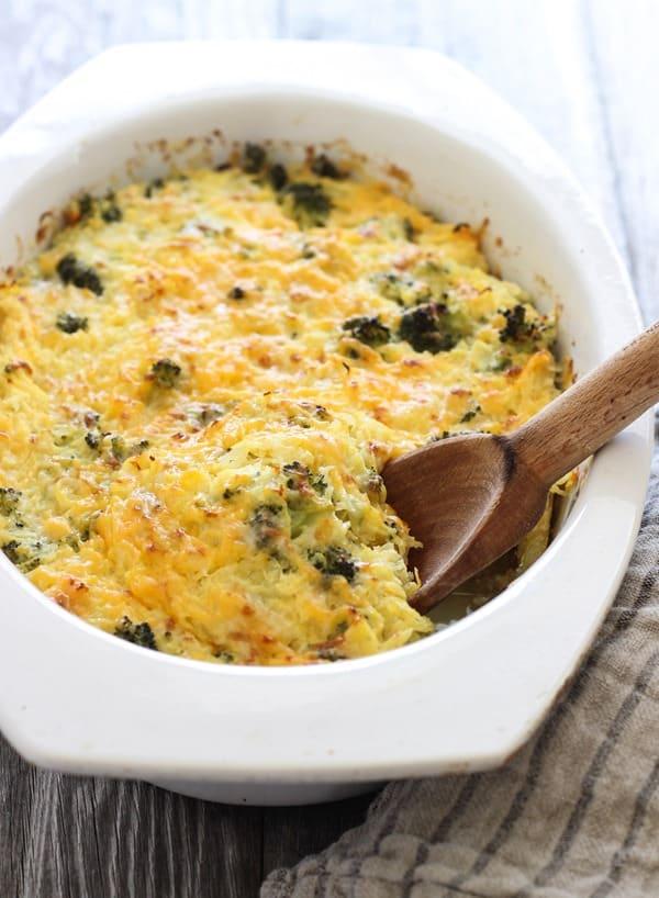 Broccoli Cheddar Spaghetti Squash Casserole