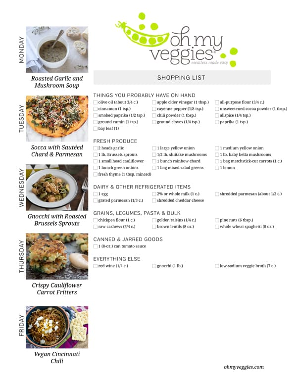 Vegetarian Meal Plan & Shopping List - 11.16.15