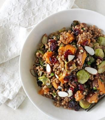 Brussels Sprout and Sweet Potato Israeli Couscous Salad