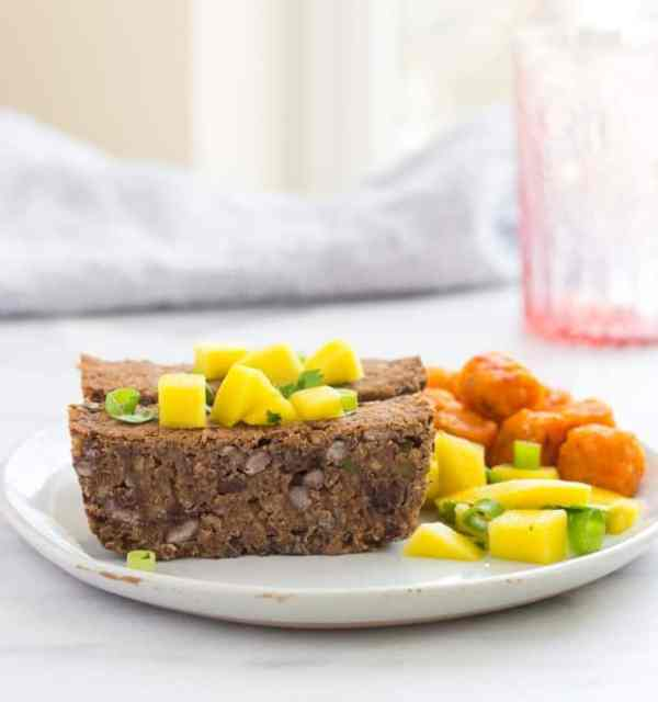 Spicy Black Bean Loaf with Mango Salsa