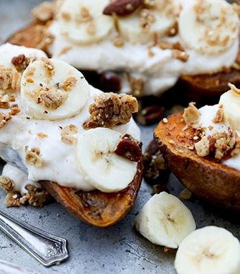 Breakfast Sweet Potatoes With Quinoa Granola
