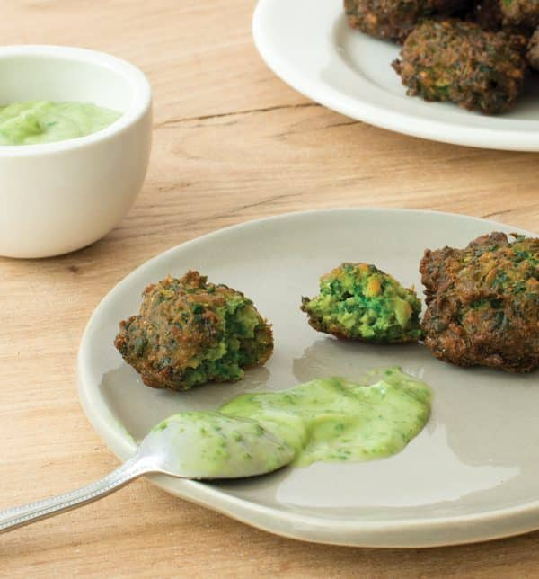 Spinach and Chickpea Spoon Fritters with Creamy Avocado Cilantro Sauce