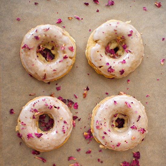 Cardamom Rose Petal Donuts