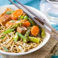 Sesame Soba Noodle Bowls with Roasted Veggies and Baked Tofu