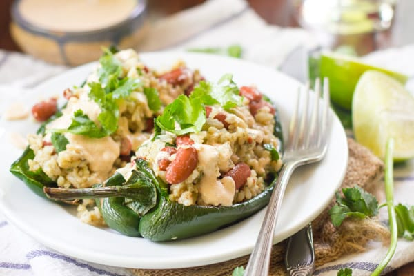 Stuffed Poblano Peppers with Cumin-Lime Cashew Crema