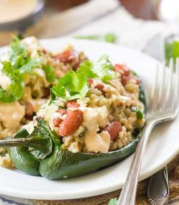Vegan Stuffed Poblano Peppers with Cumin-Lime Crema