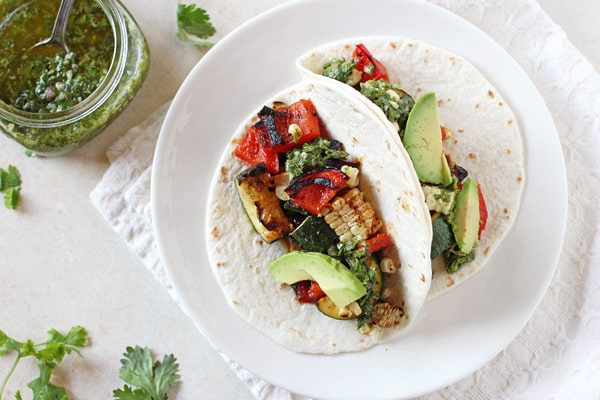 15 of the Best Vegetarian Grilling Recipes: Grilled Veggie Tacos with Chimichurri Recipe