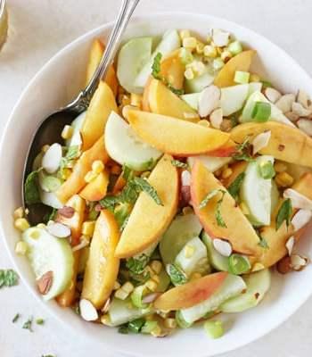 Cucumber, Peach and Corn Salad