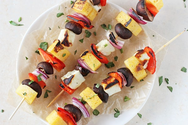 17 Delicious Vegetarian Dinners You Can Make with a Tube of Polenta: Polenta, Veggie and Halloumi Kabobs