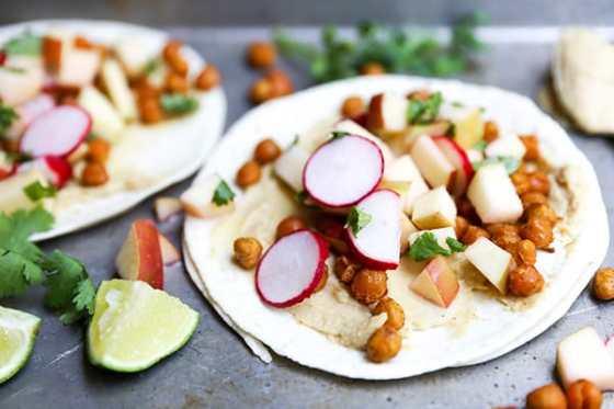 Spiced Chickpea Tacos with Apple Radish Slaw