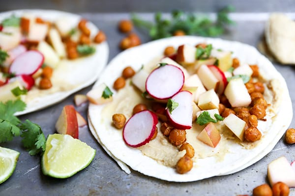 Spiced Chickpea Tacos with Apple Radish Slaw