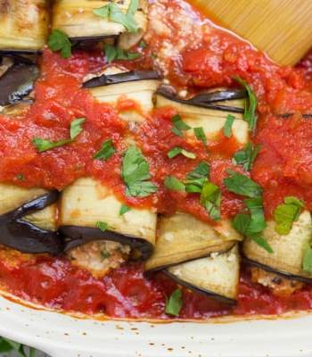Vegan Eggplant Involtini with Harissa Sauce