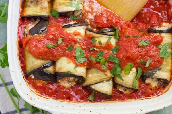 Vegan Eggplant Involtini with Harissa Sauce