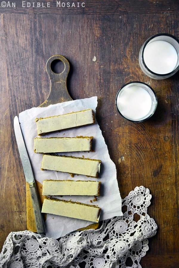 Pumpkin spice steel cut oat bars with pumpkin spice white chocolate glaze