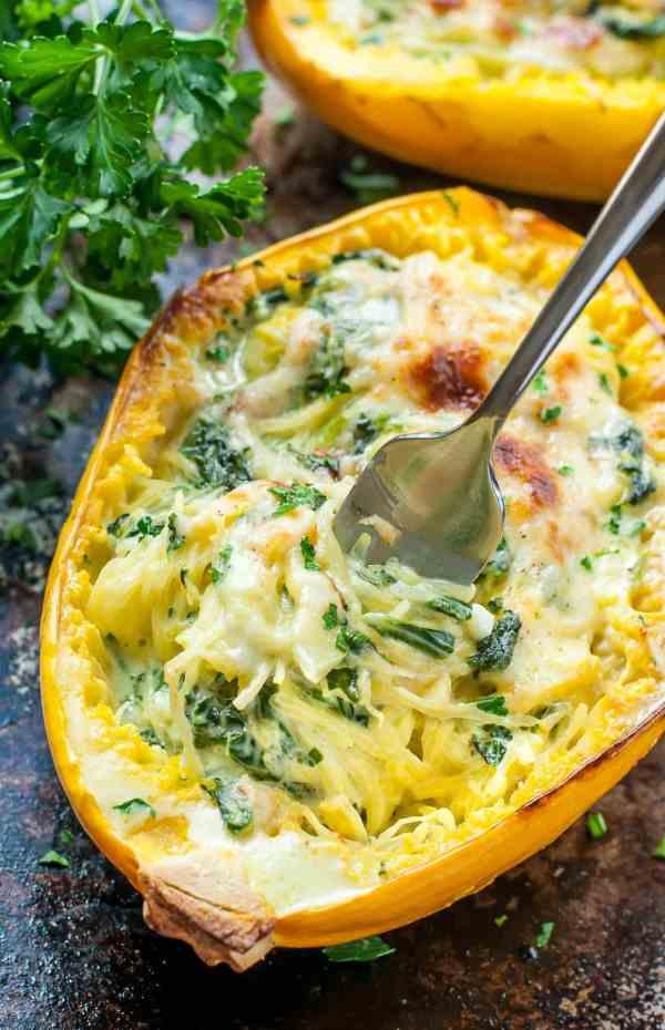 Garlic Parmesan Spinach Stuffed Spaghetti Squash