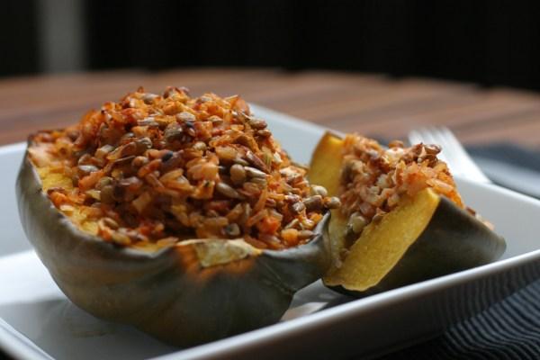 Lentil & Rice Stuffed Acorn Squash