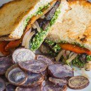 Portobello and Arugula Pesto Panini with Purple Potato Chips