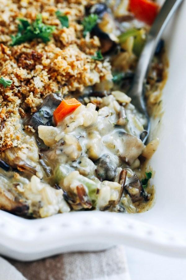 Creamy Wild Rice Mushroom Casserole
