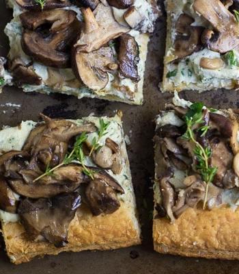 Puff Pastry Mushroom Tart with Herbed Cashew Cheese