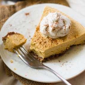 No-Bake Vegan Pumpkin Cheesecake with Pecan-Date Crust