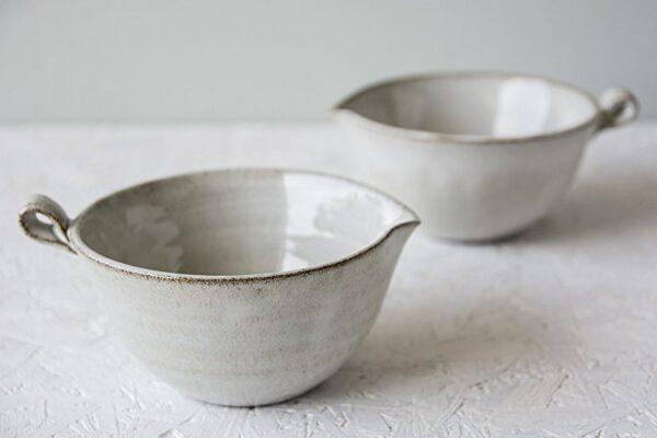 white pottery gravy dish handmade kitchen tools