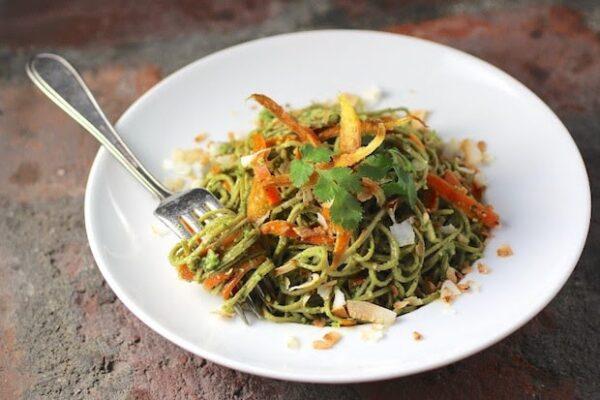 edamame spaghetti with kale cilantro pesto recipe