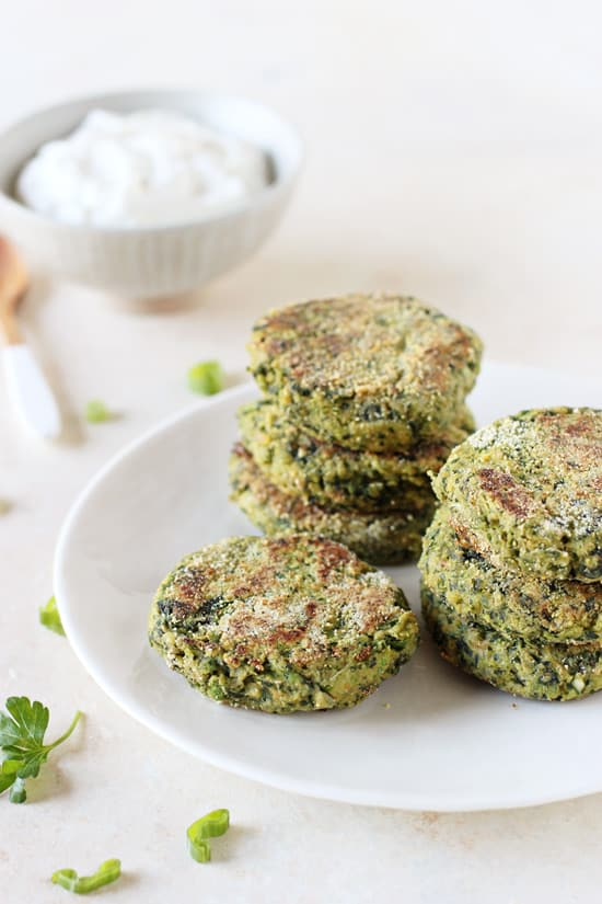 Spinach Chickpea Falafel with Lemon Yogurt Sauce