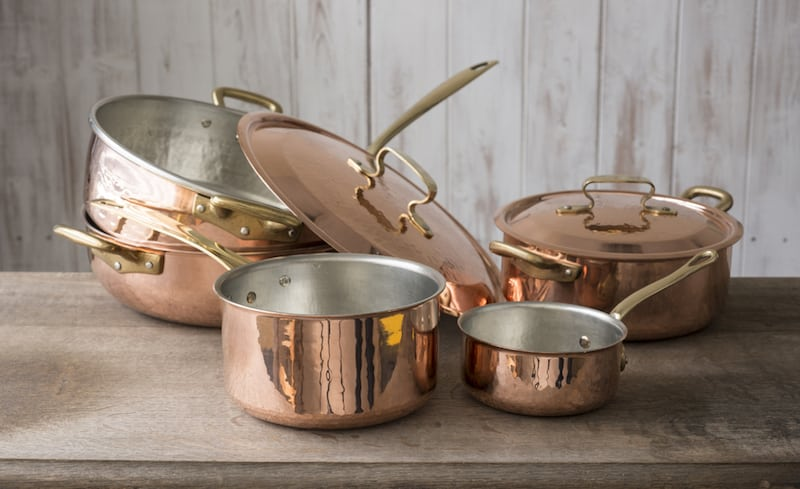 kitchen pots and pans set pegboard copper accessories to elevate your space