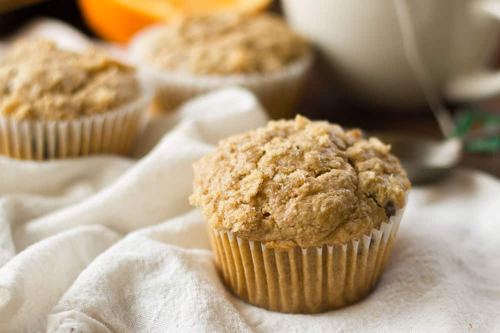 Orange Spice Oatmeal Chocolate Chip Muffins
