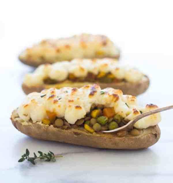 Twice Baked Lentil Shepherd's Pie Potatoes