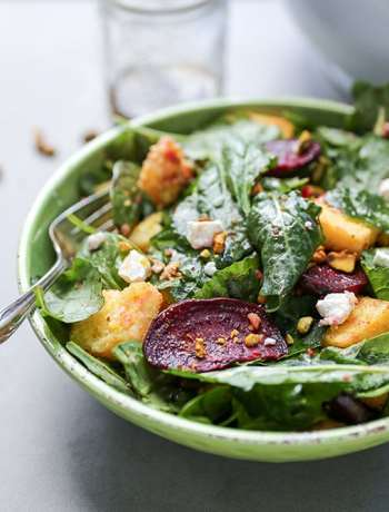 Beet and Mixed Green Salad with Polenta Croutons and Goat Cheese