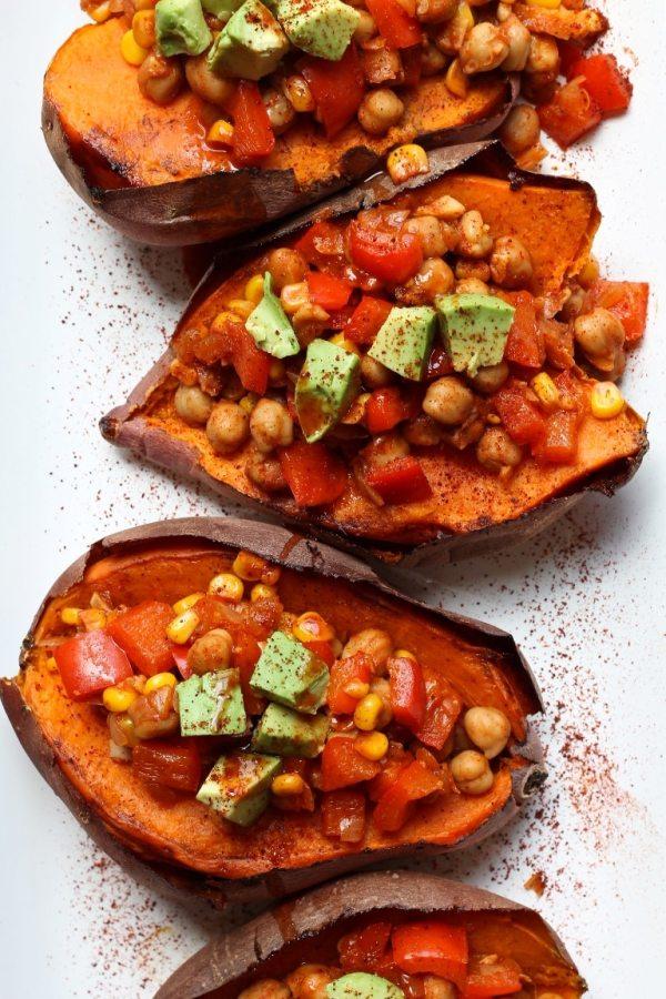 Vegan Baked Sweet Potatoes Stuffed with Chickpea Chili