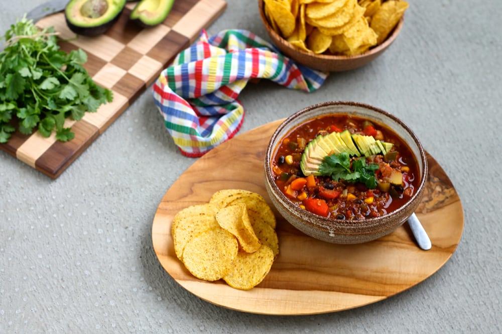 Vegan Three-Bean Quinoa Chili