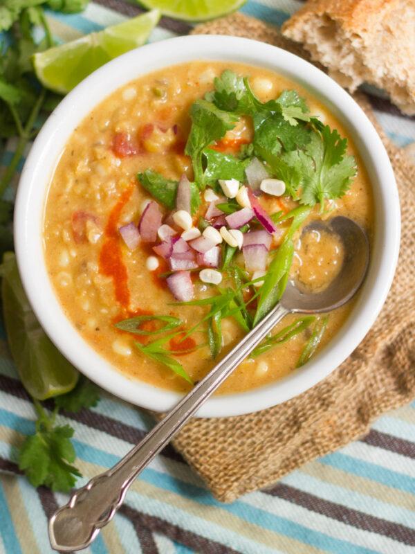 red lentil corn chowder