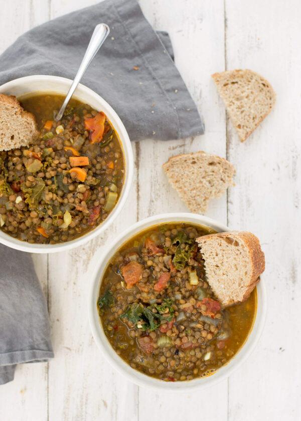 vegan tuscan red lentil soup