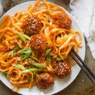 Spicy Korean Noodles & Tofu Meatballs