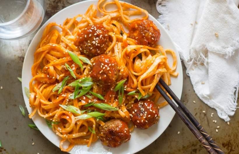 Spicy Korean Noodles & Tofu Meatballs
