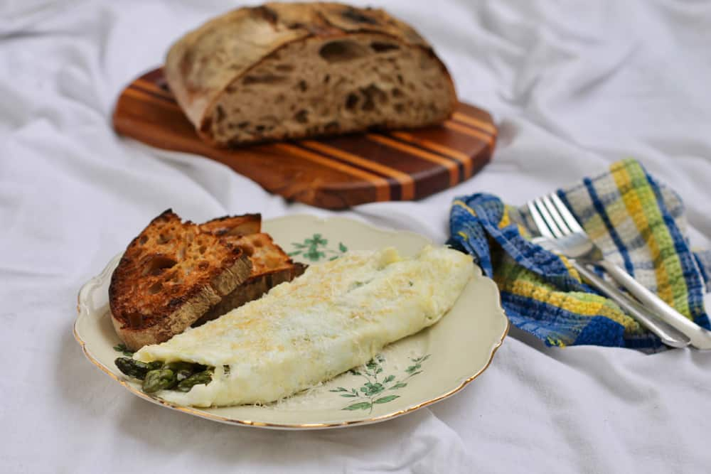 Egg White Omelet with Seared Asparagus