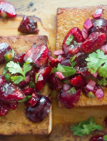 Cedar Plank Grilled Tofu with Cherry Salsa