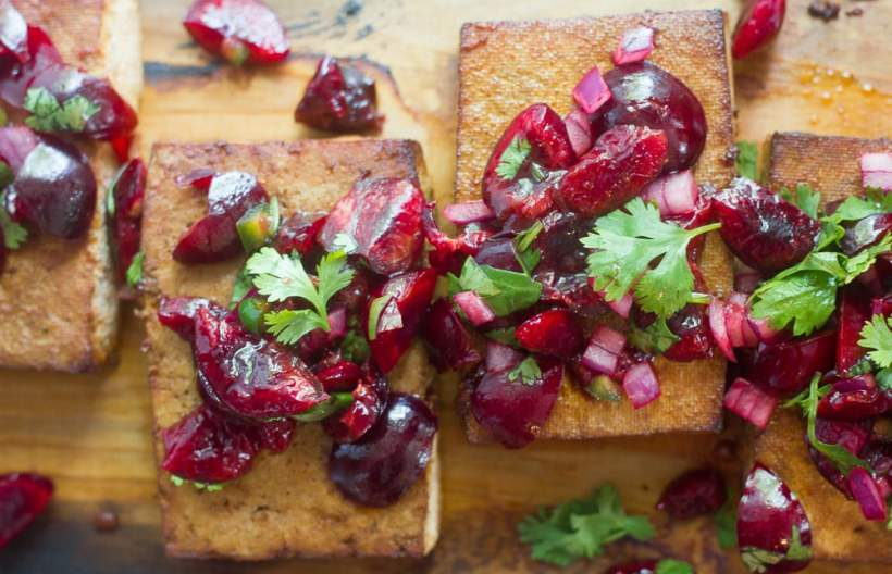 Cedar Plank Grilled Tofu with Cherry Salsa