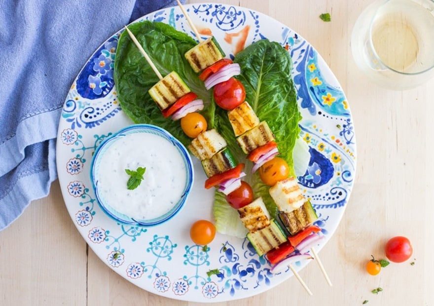 15 of the Best Vegetarian Grilling Recipes: Grilled Halloumi Kebabs with Mint Yogurt Sauce