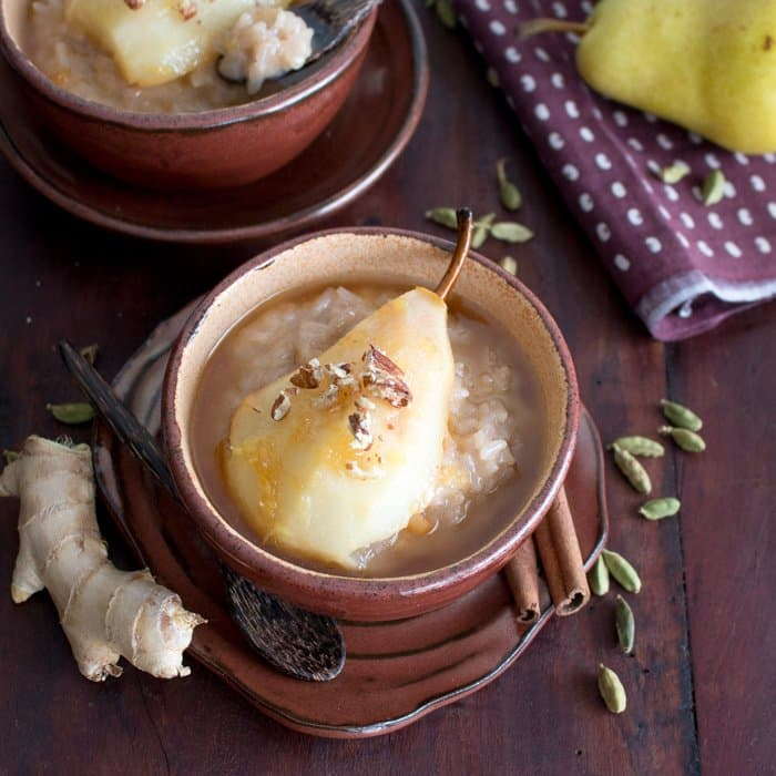 15 Creamy & Dreamy Rice Pudding Recipes: Coconut Rice Pudding with Cardamom Spiced Honey Pears
