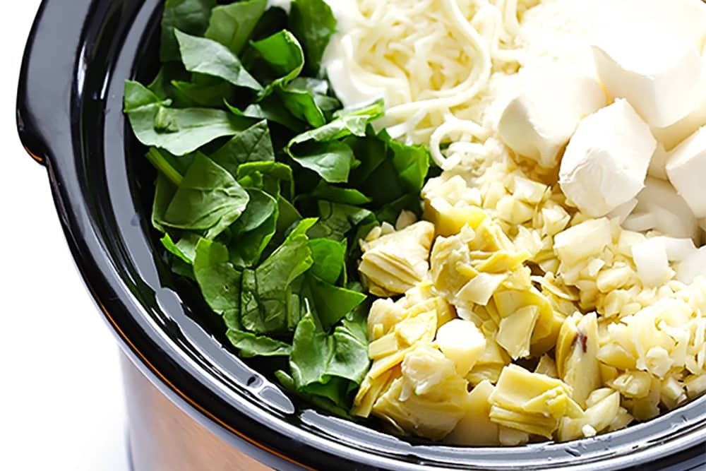 10 No Fuss Vegetarian Crockpot Dips: Slow Cooker Spinach Artichoke Dip Recipe