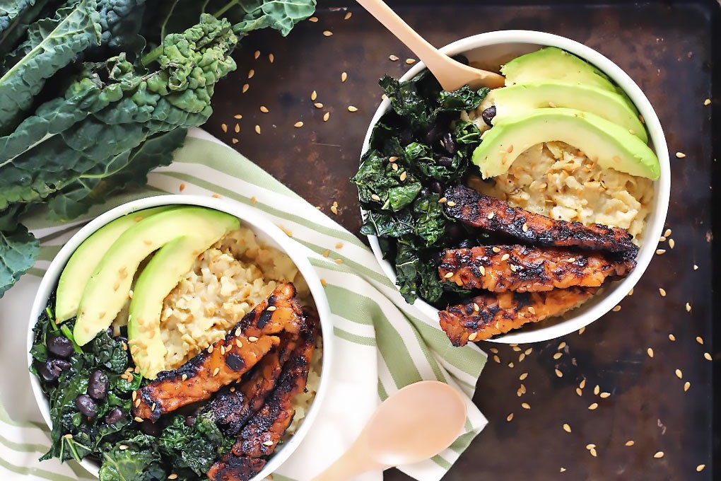 Savory Oatmeal with Tempeh Bacon