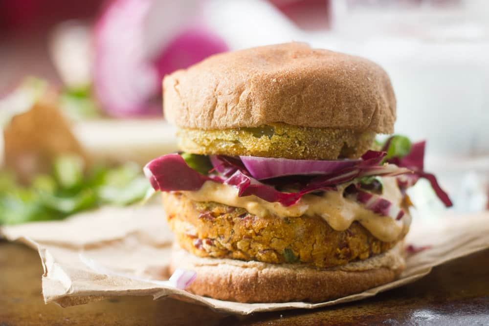 Cajun Red Bean Burgers with Fried Green Tomatoes