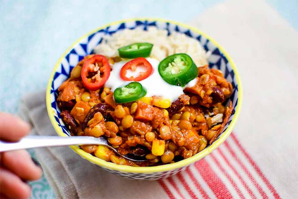 17 of the Best Vegetarian Chili Recipes: Bourbon Lentil Chili