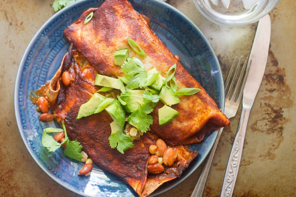Vegan Slow Cooker Pinto Bean Enchiladas