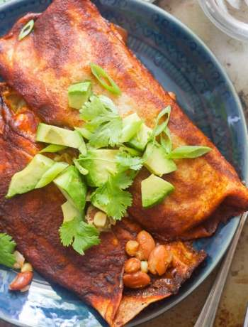 Vegan Slow Cooker Pinto Bean Enchiladas