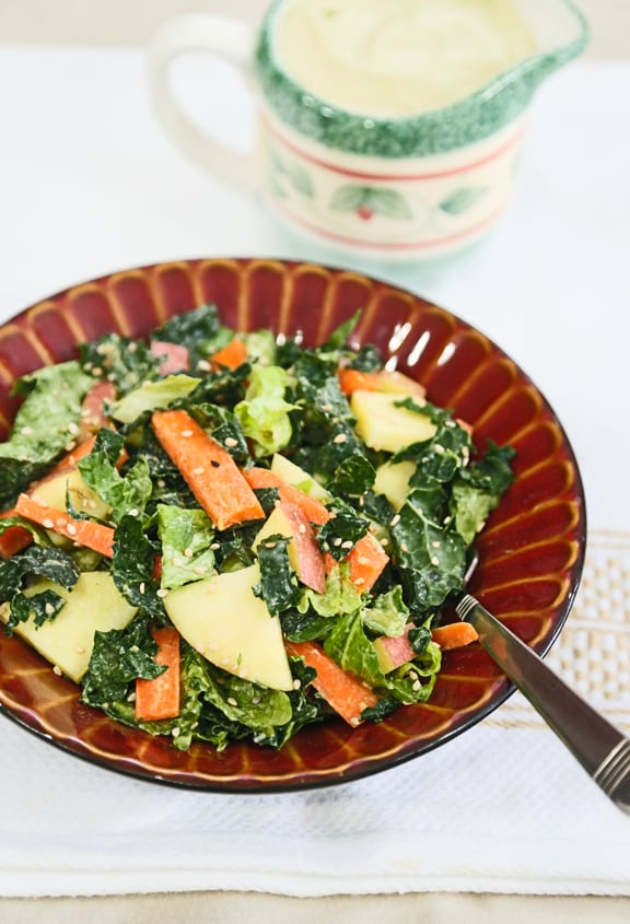 20 Savory Apple Recipes to Try This Fall: Kale Romaine and Apple Salad with Sesame Avocado Dressing