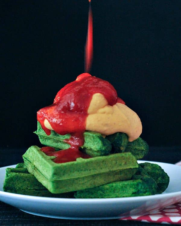 49 Savory Vegan Breakfast Recipes: Spinach Garlic Waffles